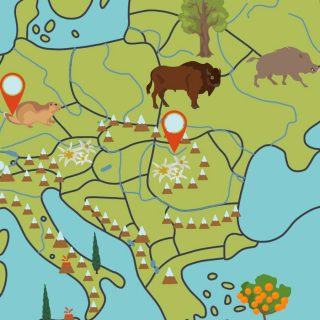 Europe map with rivers, mountains, animals, lakes and natural wonders: detail Italy and surrounding countries