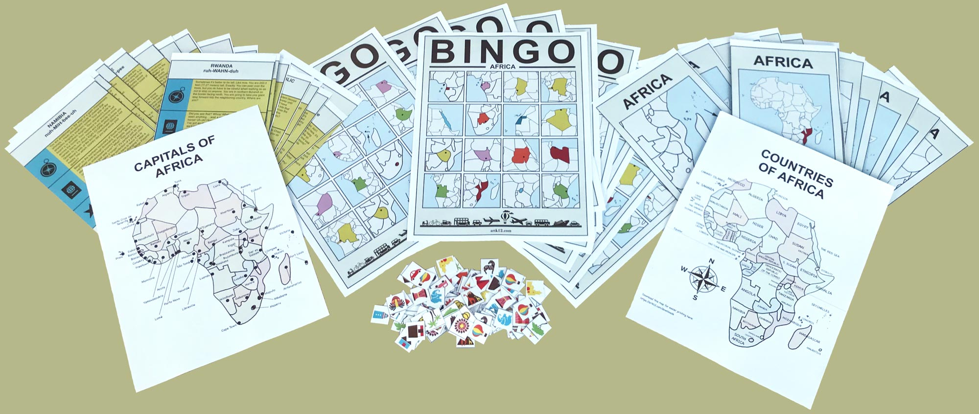 Showing all included in the Africa Bingo game: 50+ flash cards, 100+ tokens, 20 bingo cards, 2 Africa maps (countries and capitals).