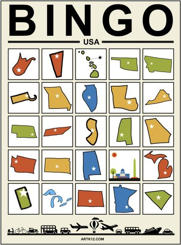 USA Bingo - Zoom Bingo Card Example 1
