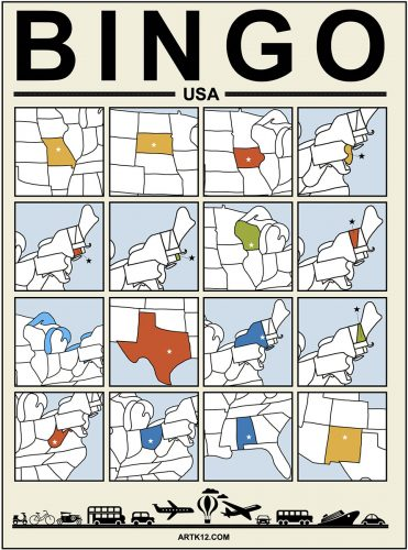 USA Bingo Card 4 x 4 Version 3