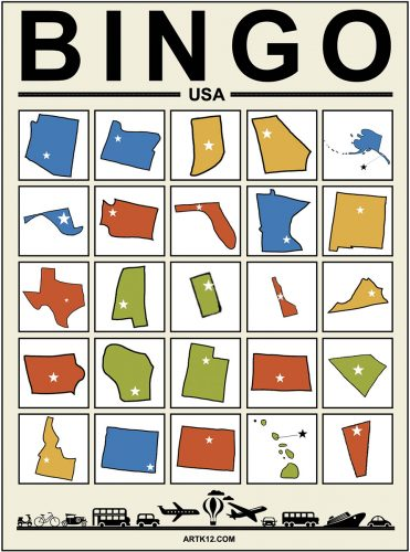 USA Bingo Card 5 x 5 Variation 2