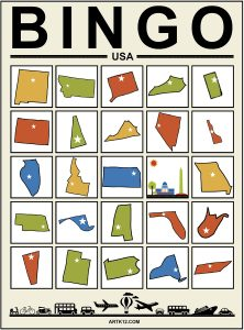 USA Extra Bingo Cards 5 x 5 Version 4
