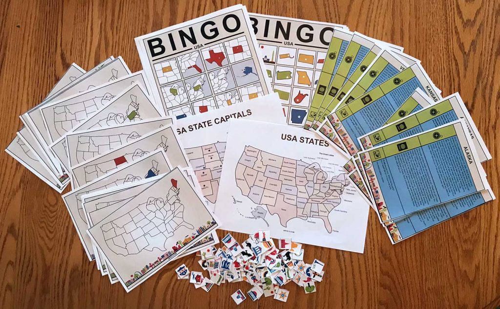 USA Bingo: Bingo Cards, Flash Cards, Tokens and USA States and Capitals