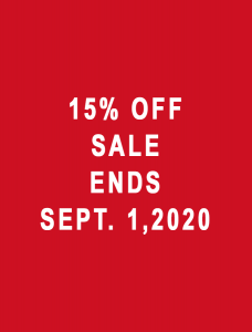 15% Off Sale Ends Sept. 1, 2020