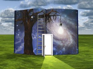 Surrealism. Book with opened door and old tree with light bulb.