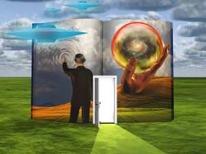 Surrealism. Book with opened door and hand holds crystal ball with galaxy inside. Man in suit and bowler. Flying saucers.