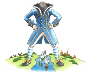 Gulliver standing over some sailing ships passing through his legs on a river.