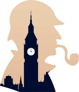 The Great Sherlock Holmes, his pipe and Big Ben: Illustration