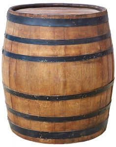 Large antique wooden barrel with wine or beer isolated on a white background. Hogshead