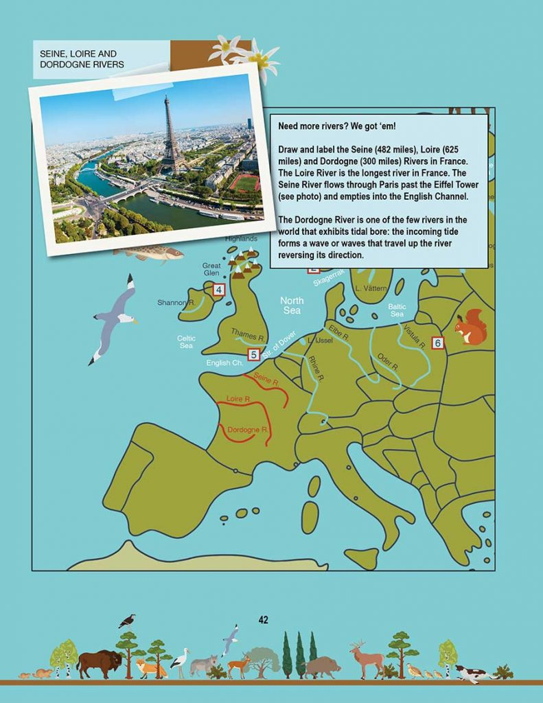 New Geography Book: Draw three more rivers, Seine goes by the Eiffel tower
