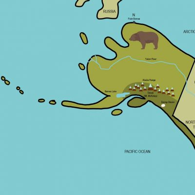 Map of Alaska from Draw the Natural Wonders of the USA