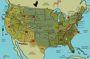 Map of the USA from Draw the Natural Wonders of the USA